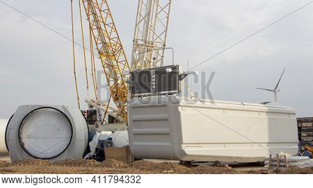 Construction Of A Wind Turbine. Details Of The Construction Of The Windmill Are Waiting To Be Instal