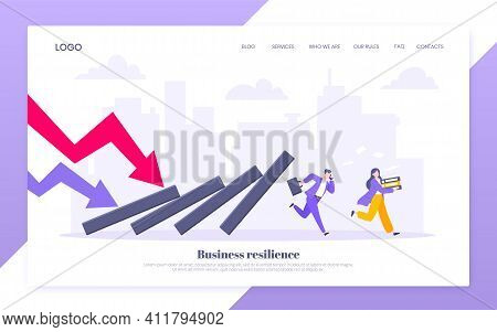 Domino Effect Or Business Resilience Metaphor Vector Illustration Concept. Adult Young Business Peop