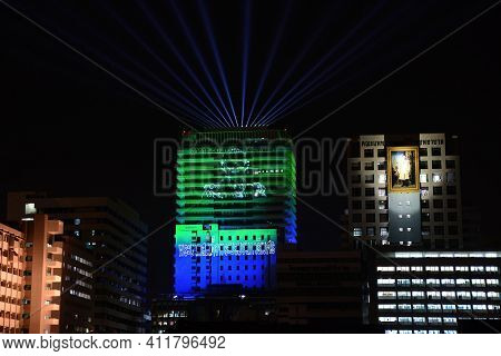 Bangkok, Thailand - January 30,2021 : World Ntd Day 2021, A Light Show On A Neglected Tropical Disea