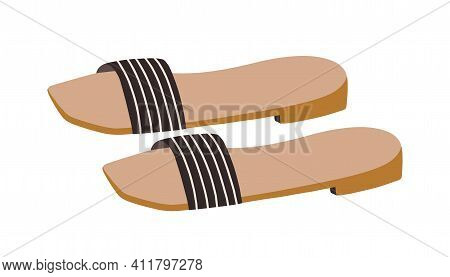Fashion One-strapped Slides Or Slippers With Low Heels. Backless Summer Shoes. Trendy Womens Footwea