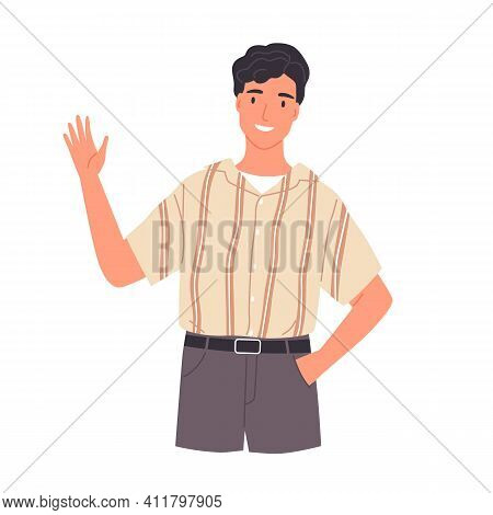 Portrait Of Smiling Young Man Saying Hello And Waving With Hand. Hi Or Bye Gesture. Happy Guy Greeti