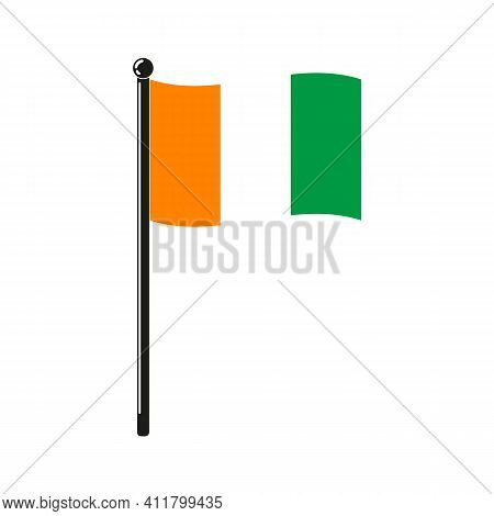 National Flag Of Ivory Coast In The Original Colours And On The Stick