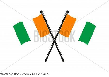 National Flags Of  Ivory Coast Crossed On The Sticks In The Original Colours And Proportions