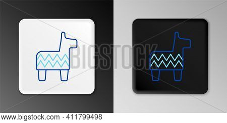 Line Pinata Icon Isolated On Grey Background. Mexican Traditional Birthday Toy. Colorful Outline Con