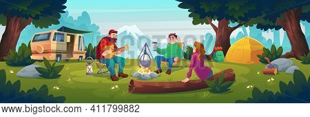 Summer Camp With People Sitting Near Bonfire. Vector Cartoon Landscape With Mountain, Forest And Cam