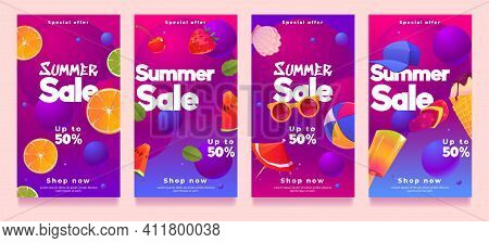 Summer Sale Social Media Templates Or Posters Design, Special Offer Promotion, Cartoon Summertime St