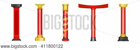 Chinese Red Pillars, Historic Gold Architecture Decor For Asian Temple, Pagoda, Gazebo, Arch And Gat