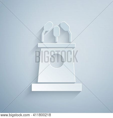 Paper Cut Stage Stand Or Debate Podium Rostrum Icon Isolated On Grey Background. Conference Speech T