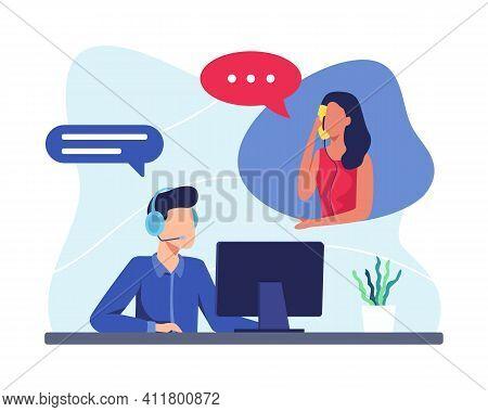 Hotline Operator Illustration Concept