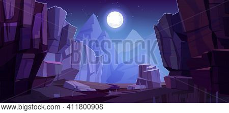 Mountains Cleft View From Bottom, Night Scenery Landscape With High Rocks And Full Moon With Stars G