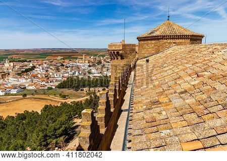 Aerial View Of The Town Of Belmonte From Its Medieval Castle On Top Of The Nearby Hill. Castilla La