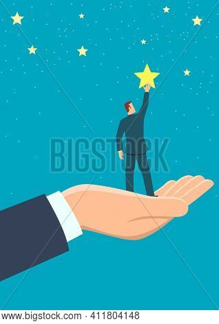 Simple Flat Business Vector Illustration Of Giant Hand Helping A Businessman To Reach Out For The St