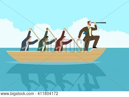 Simple Flat Business Vector Illustration Of Businessmen Rowing The Boat, Teamwork, Success, Leadersh