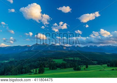 Landscape near Jurgow with High Tatras, Poland