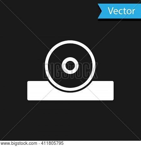 White Otolaryngological Head Reflector Icon Isolated On Black Background. Equipment For Inspection T