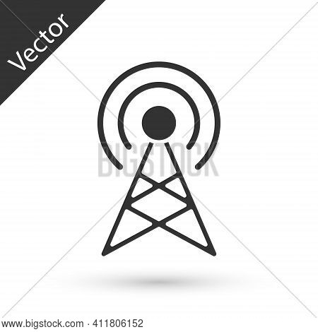Grey Antenna Icon Isolated On White Background. Radio Antenna Wireless. Technology And Network Signa