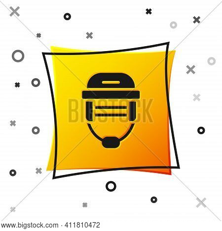 Black Hockey Helmet Icon Isolated On White Background. Yellow Square Button. Vector