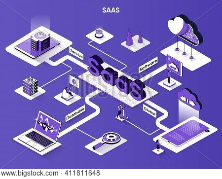 Saas Isometric Web Banner. Software As A Service Flat Isometry Concept. Global Database, Subscriptio