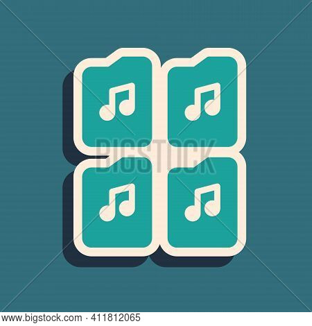 Green Music File Document Icon Isolated On Green Background. Waveform Audio File Format For Digital