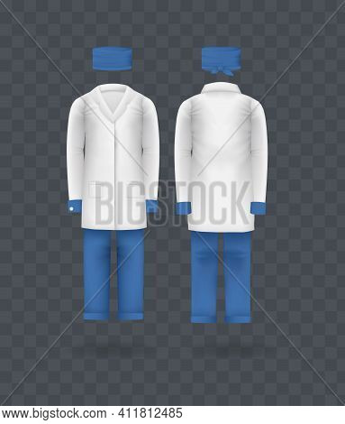 Realistic Doctor Coat Kit Clothes. Doctor Medical Laboratory Clothes, Hat, Robe, Trousers. Empty Lab