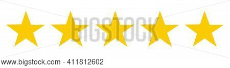 5 Or Five Stars Sign Symbol On White Background. Illustration. Ranking Quality Service Review Feedba