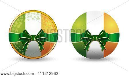Set Of Round Badges With The Irish Flag. Round Medallion With Irish Flag Inside. Vector Icon
