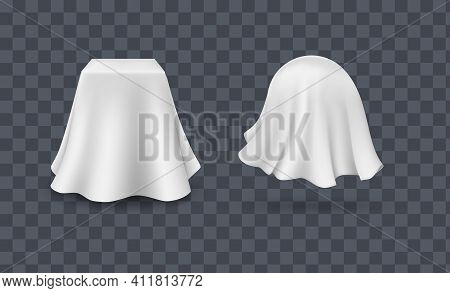 Draped Table Covers. Big Realistic Pair Hanging Napkin, Tablecloth, Curtain.