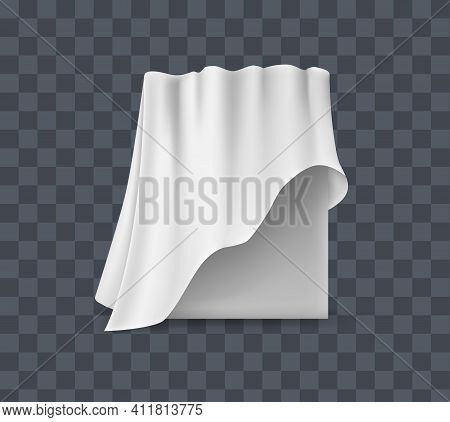 Draped Table Covers. Big Realistic Hanging Napkin, Tablecloth, Curtain. White Silk Cloth Covered Tab