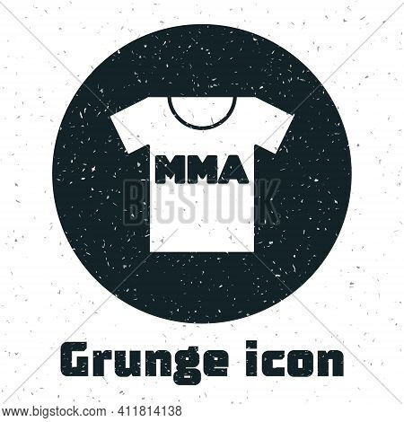 Grunge T-shirt With Fight Club Mma Icon Isolated On White Background. Mixed Martial Arts. Monochrome