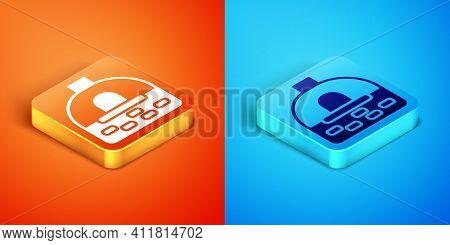 Isometric Brick Stove Icon Isolated On Orange And Blue Background. Brick Fireplace, Masonry Stove, S
