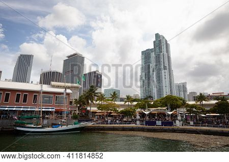 Miami, Florida. Usa, May 27, 2013: View Of Downtown Miami From A Boat In The Port, Florida, Usa. A P
