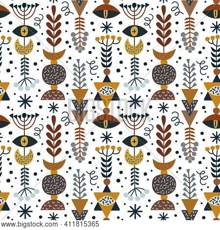 Witchcraft Symbols And Branches Of Plants In Beautiful Compositions. For Printing On Fabric And Pape