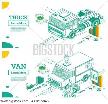 Truck without Trailer. Small Van Car. Cargo Truck Transportation. Isometric Commercial Transport. Infographic Element of Logistics System. Car for Carriage of Goods. Delivery Concept.