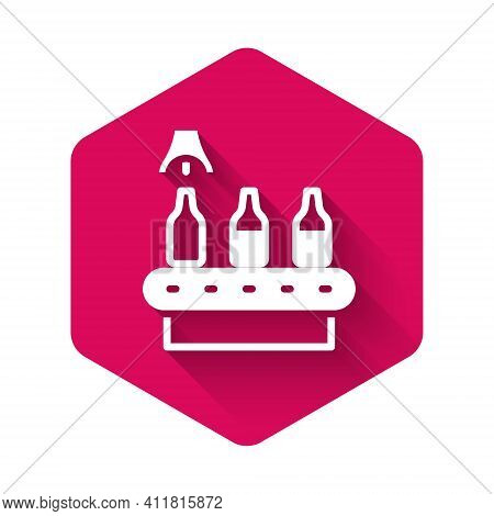 White Brewery Factory Production Line Pouring Alcoholic Drink In Glass Bottles Icon Isolated With Lo