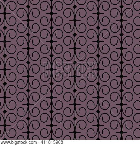 Purple And Black Scroll Geometric Repeat Pattern.