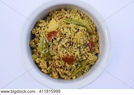 Traditional Indian Fasting Food Recipe Dish Called Bhagar Homemade Of Barnyad Millet Rice Grains. Al