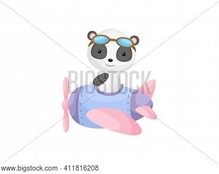 Little Panda Wearing Aviator Goggles Flying An Airplane. Funny Baby Character Flying On Plane For Gr