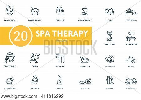 Spa Therapy Icon Set. Contains Editable Icons Spa Therapy Theme Such As Martar And Pestle, Aroma The