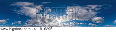 Sky Panorama On Sunset With Cumulus Clouds In Seamless Spherical Equirectangular Format As Full Zeni