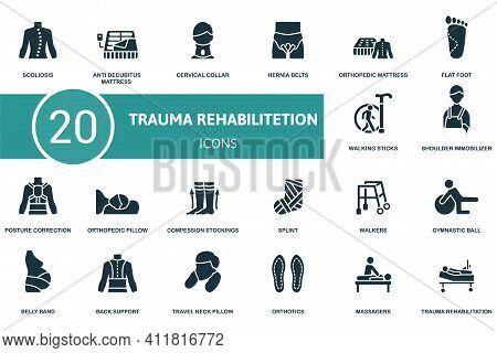 Trauma Rehabilitation Icon Set. Contains Editable Icons Trauma Rehabilitation Theme Such As Anti Dec