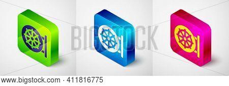 Isometric Dharma Wheel Icon Isolated On Grey Background. Buddhism Religion Sign. Dharmachakra Symbol