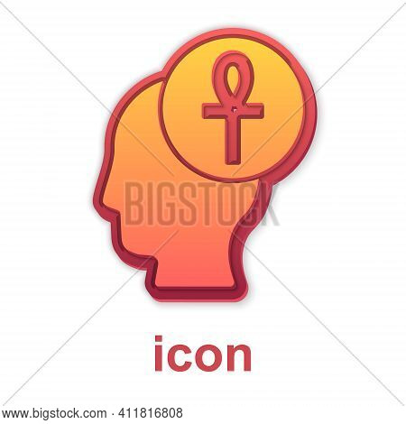 Gold Cross Ankh Icon Isolated On White Background. Vector
