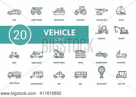 Vehicle Icon Set. Contains Editable Icons Vehicle Theme Such As Dump Truck, Tractor, Yacht And More.