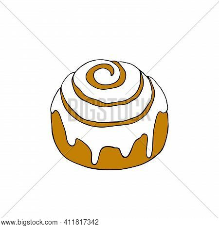 Cinnabon. Traditional Cinnamon Bun With Icing. Hand Drawn Vector Illustration On White Background Is