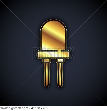 Gold Light Emitting Diode Icon Isolated On Black Background. Semiconductor Diode Electrical Componen