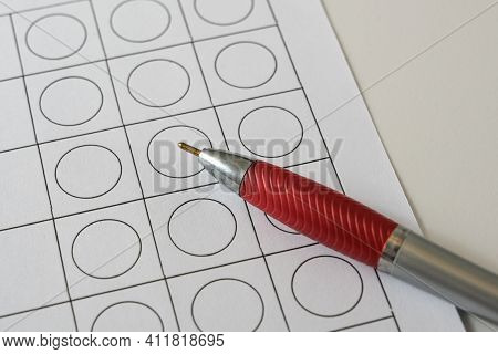 Empty Paper Form With Selection Boxes And A Ballpoint Pen, Business Application Questionnaire Or Ele