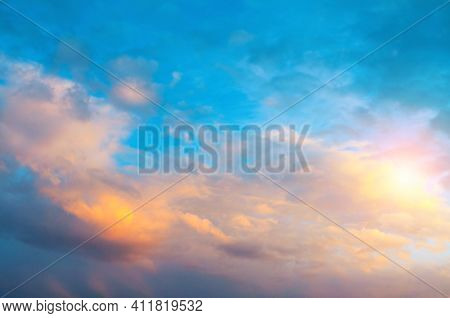 Sunset sky, sky background, picturesque sunset sky landscape with dramatic orange clouds.Sunset sky, sky background,picturesque sky,vast sky landscape Sky landscape.Sky background.Dramatic blue sky background,vast sky landscape,sky panoramic scene,sunny s