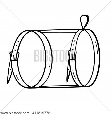 Pet Harness. Small Dogs And Cats. Black And White. Doodle Isolated Outline Objects On White Backgrou