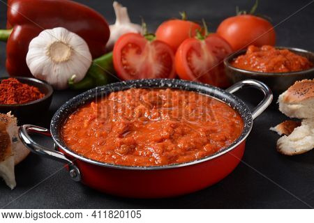 Matbucha - Moroccan Tomato Dip, Spread Or Condiment - Cooked Spicy Tomatoes, Peppers, Garlic And Chi
