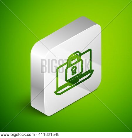 Isometric Line Laptop And Lock Icon Isolated On Green Background. Computer And Padlock. Security, Sa